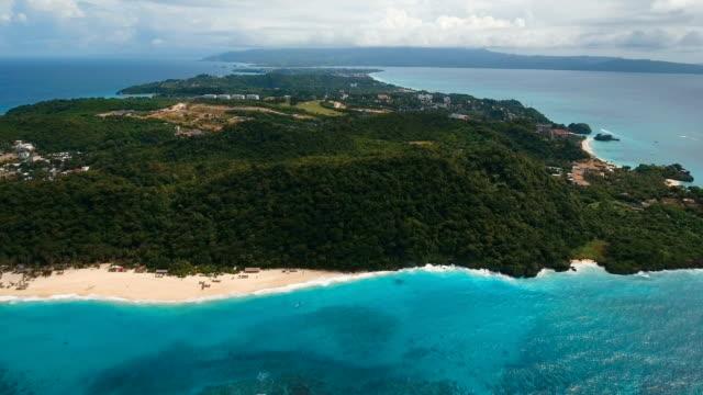 Aerial view beautiful beach on tropical island. Boracay island Philippines video