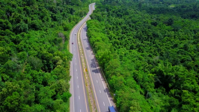 Aerial view beautiful of Highway with forest in Thailand video
