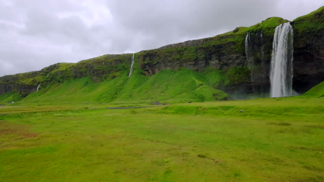 Aerial view Beautiful of Seljalandsfoss Waterfall in South Iceland video