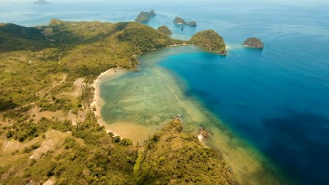 Aerial view beautiful Seascape. Busuanga, Palawan, Philippines video