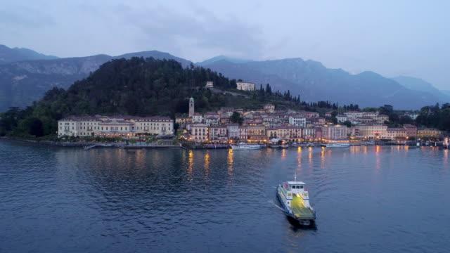 aerial view bellagio in twilight. - lombardia video stock e b–roll