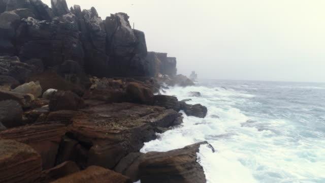 Aerial view breaking waves against rocky coast of Atlantic ocean