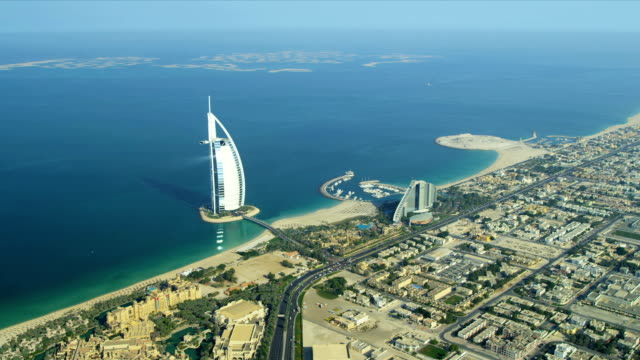 Aerial view Burj Al Arab, Jumeirah Beach Hotel Dubai video