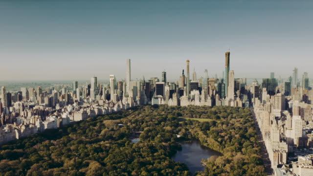 Aerial view Central Park Manhattan New York City 4K Aerial view Central Park Manhattan New York City 4K central park manhattan stock videos & royalty-free footage