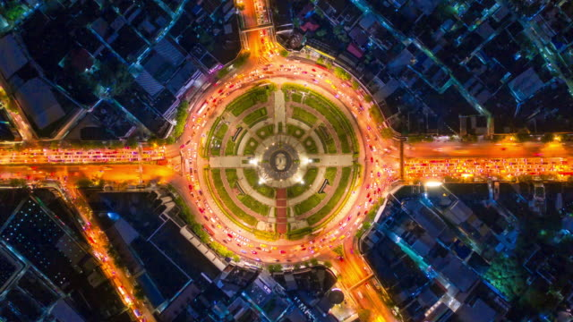 Aerial view circle traffic intersection