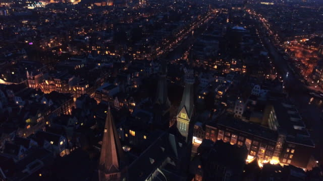 aerial view city in night time - amsterdam video stock e b–roll
