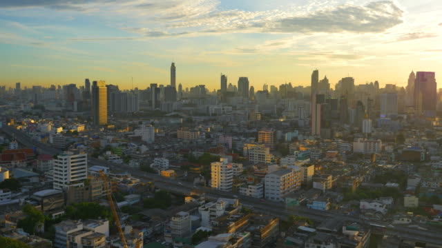 Aerial view city in the morning video