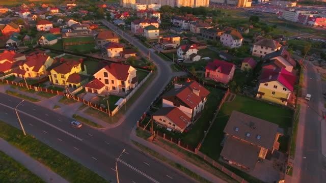 Aerial View. City landscape. Evening video