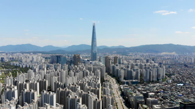 vídeos de stock e filmes b-roll de aerial view cityscape of seoul, south korea - coreia do sul