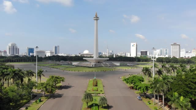 Aerial view clip of National Monument or also known as Monas, located in Jakarta, the capital city of Indonesia, recorded in 4k resolution. Aerial view clip of National Monument or also known as Monas, located in Jakarta, the capital city of Indonesia, recorded in 4k resolution. jakarta stock videos & royalty-free footage