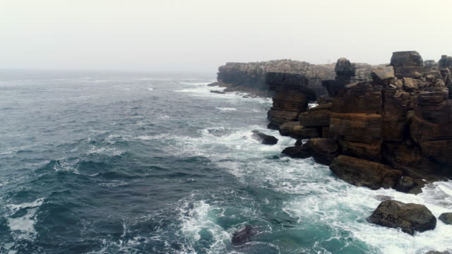 Aerial view coast of Atlantic ocean with steep cliffs