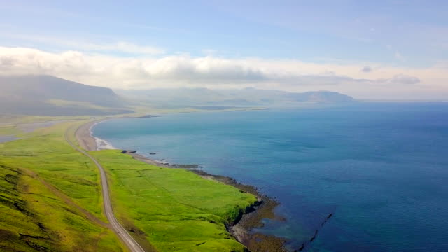 Aerial view Coast of Western Iceland video