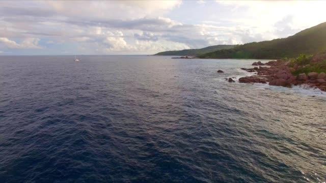 Aerial view: coastline of La Digue Island, Seychelles