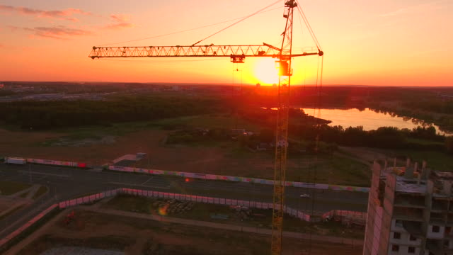 Aerial View . Construction of the house at sunset. video