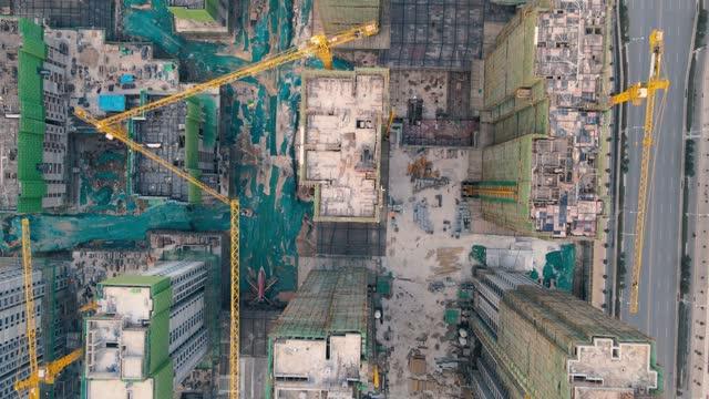 cantiere vista aerea - cemento video stock e b–roll