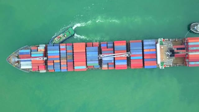 aerial view container ship or cargo ship - индонезия стоковые видео и кадры b-roll