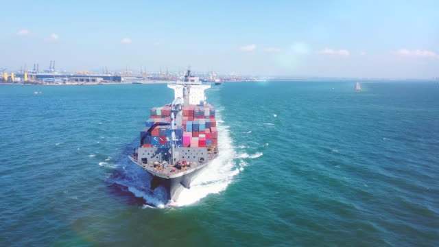 aerial view container ship - nave mercantile video stock e b–roll