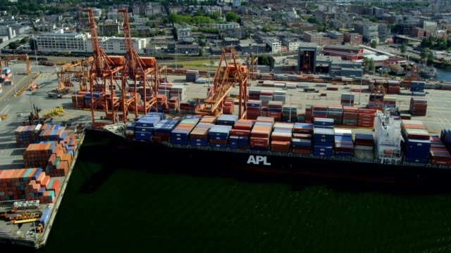 aerial view container ships vancouver harbour - port wine stock videos & royalty-free footage