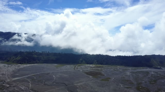 4K : Aerial view crater of Bromo volcano, East Java,aerial view of drone camera  Bromo volcano at Indonesia video