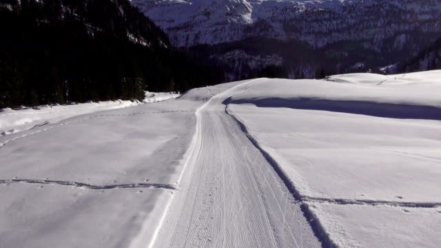 aerial view cross-country ski-track in winter video