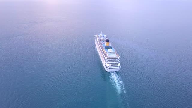 Aerial view cruise ship in a blue sea singapore