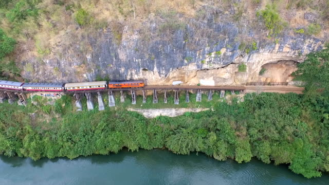 Aerial View Death Railway bridge over the Kwai Noi River at Krasae cave in Kanchanaburi province