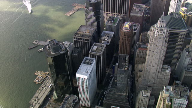 Aerial View Downtown Manhattan - Financial District , New York, USA Aerial View Downtown Manhattan - Financial District, New York, USA wall street stock videos & royalty-free footage