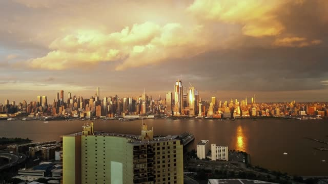 Aerial view Dramatic Evening in New York City series 4k