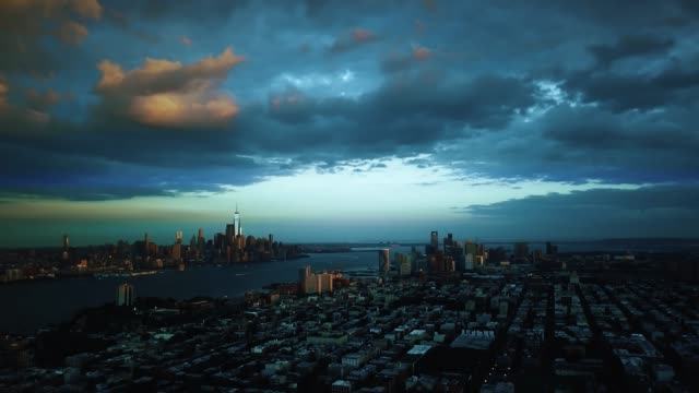 Aerial view Dramatic Night Evening in New York City 4k