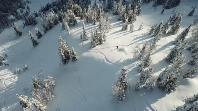 aerial view drone freerider snowboarder drop in powder snow - snowboarding video stock e b–roll