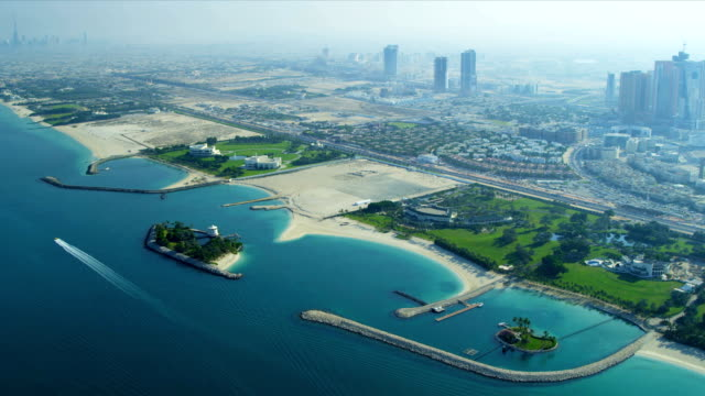 Aerial view Dubai coastline video