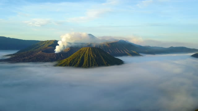 Aerial view east of Mount Bromo, East Java, Indonesia Aerial view east of Mount Bromo, East Java, Indonesia indonesia stock videos & royalty-free footage