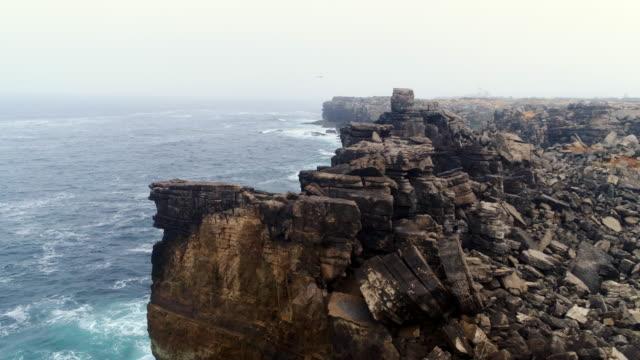 Aerial view edge steep cliff coast of Atlantic ocean in Portugal