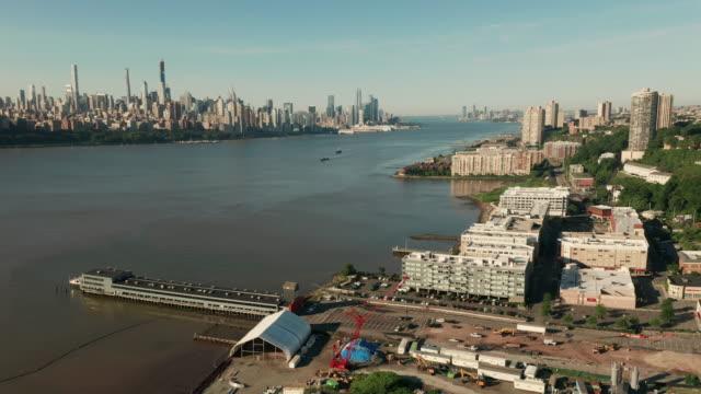 Aerial View Edgewater to Weehawken New Jersey Hudson River Manhattan