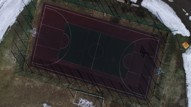 Aerial view empty basketball court video