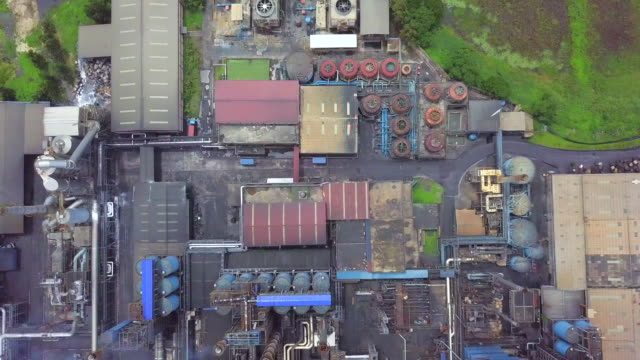 Aerial view factory oil refinery video