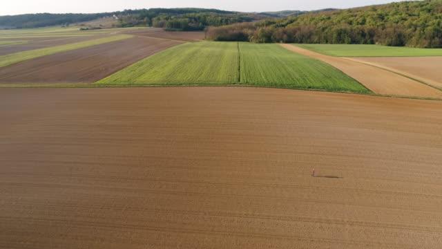 ws aerial view bonde promenader i det soliga, stora, landsbygdens upplöjd fältet - vidbild bildbanksvideor och videomaterial från bakom kulisserna