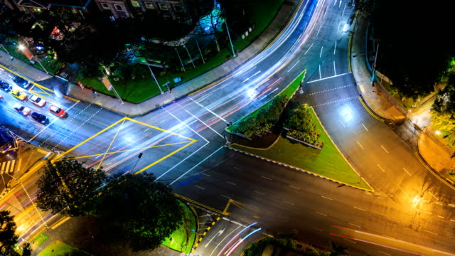 Aerial View Fast Speed Crossroad Traffic On Night Time 4K Time Lapse (looping) video