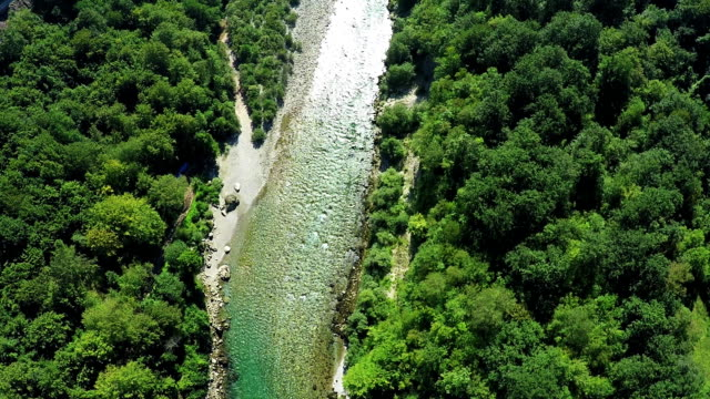 Aerial view, flight above mountain river, Flying over Tara river video
