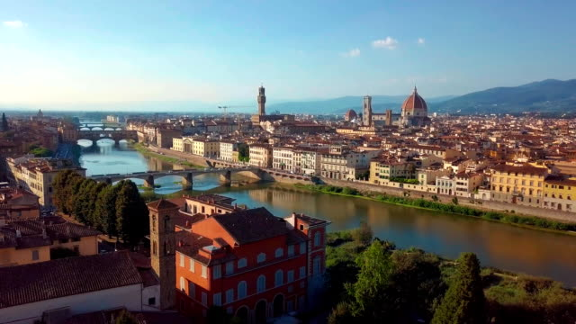 Aerial view. Florence Ponte Vecchio Bridge and City Skyline in Italy. Florence is capital city of the Italian region Tuscany