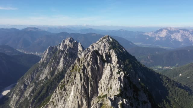 Aerial view ,fly over mountains peak in julian alps, alongside Mangart