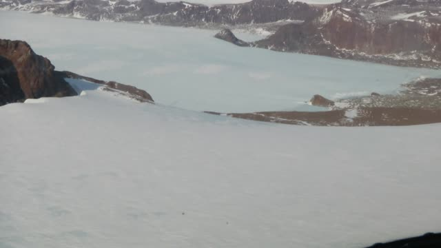 Aerial view flying over Antarctic icefields video