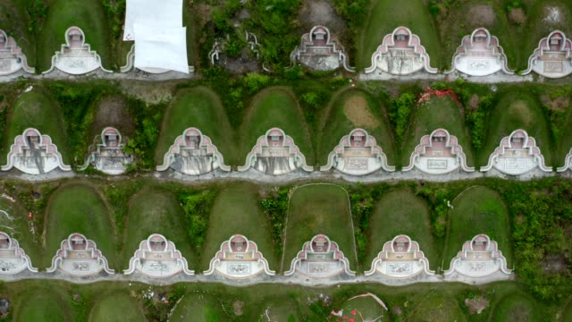 Aerial view : flying over the cemetery on memorial day