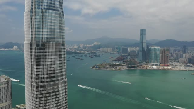 4k aerial view footage of central district in hong kong - hong kong video stock e b–roll