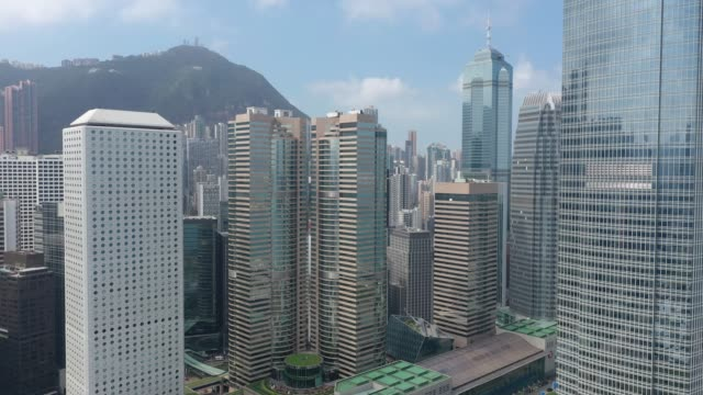 4K aerial view footage of Central district in Hong Kong