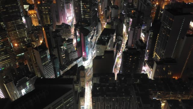 4K Aerial view footage of Hong Kong City after Sunset