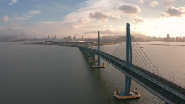 aerial view footage of hong kong-zhuhai-macao bridge - zhuhai video stock e b–roll