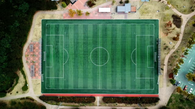 Aerial view ; football or soccer field video