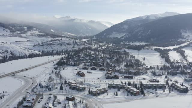 Aerial View Fresh Snow Town Mountain Range