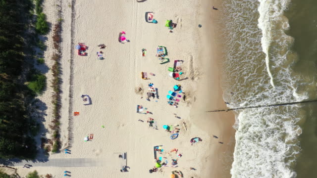 Aerial view from above Baltic Sea coast beach Hel aerial drone top view. People sunbathing.
